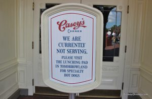 Casey's Corner is Closed in the Magic Kingdom
