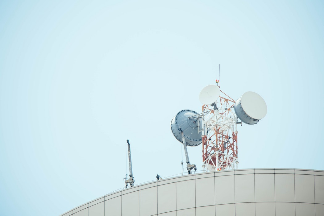An antenna array on a roof