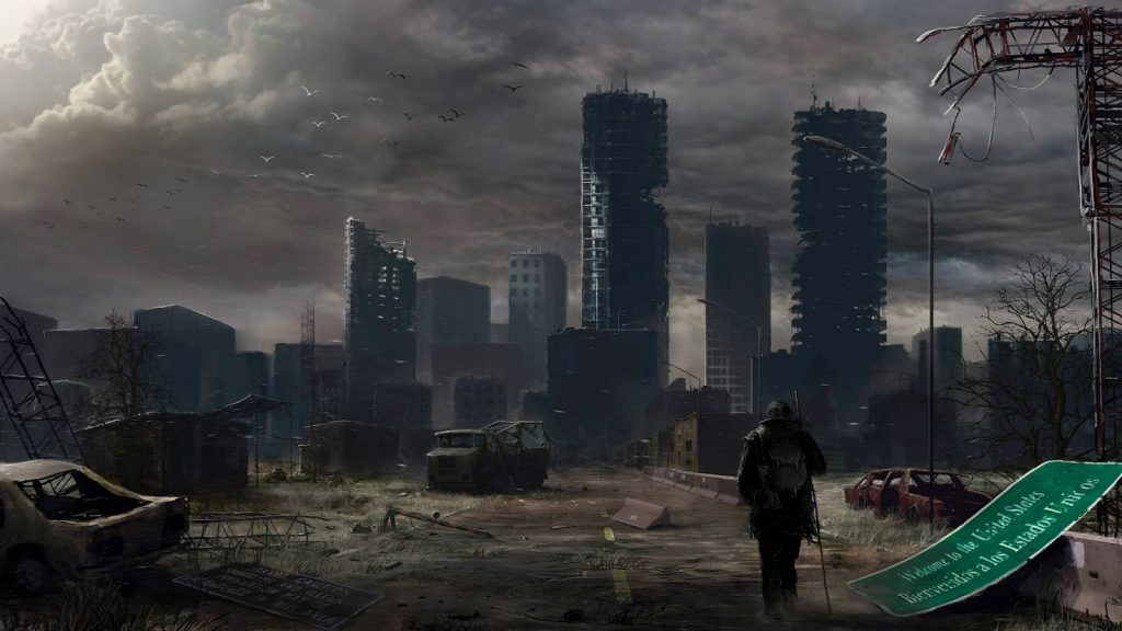 A post apocalyptic scene of a collapsing city.